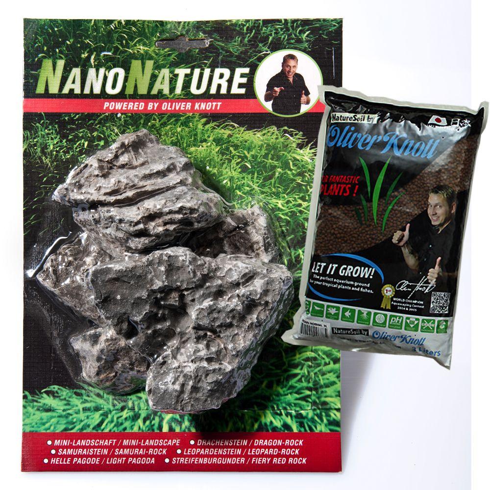 Kit mini paysage pour aquarium NanoNature - 5 pierres + 3 litres de substrat brun, fin