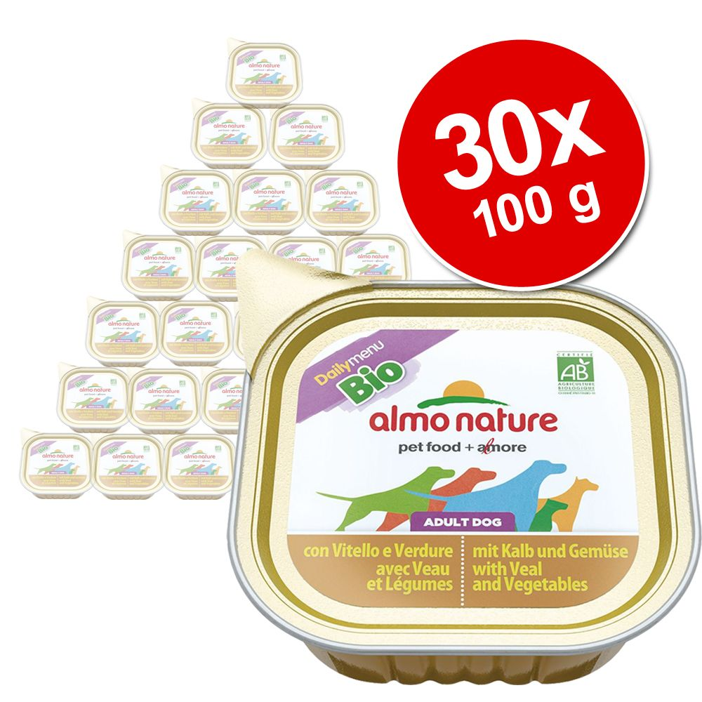 Ekonomipack: Almo Nature Daily Menu Bio Paté 30 x 100 g - Kalv & grönsaker