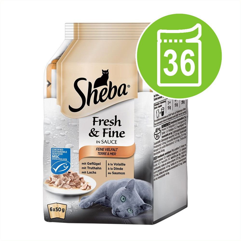 Ekonomipack: Sheba Fresh & Fine 36 x 50 g - Fjäderfävariationer