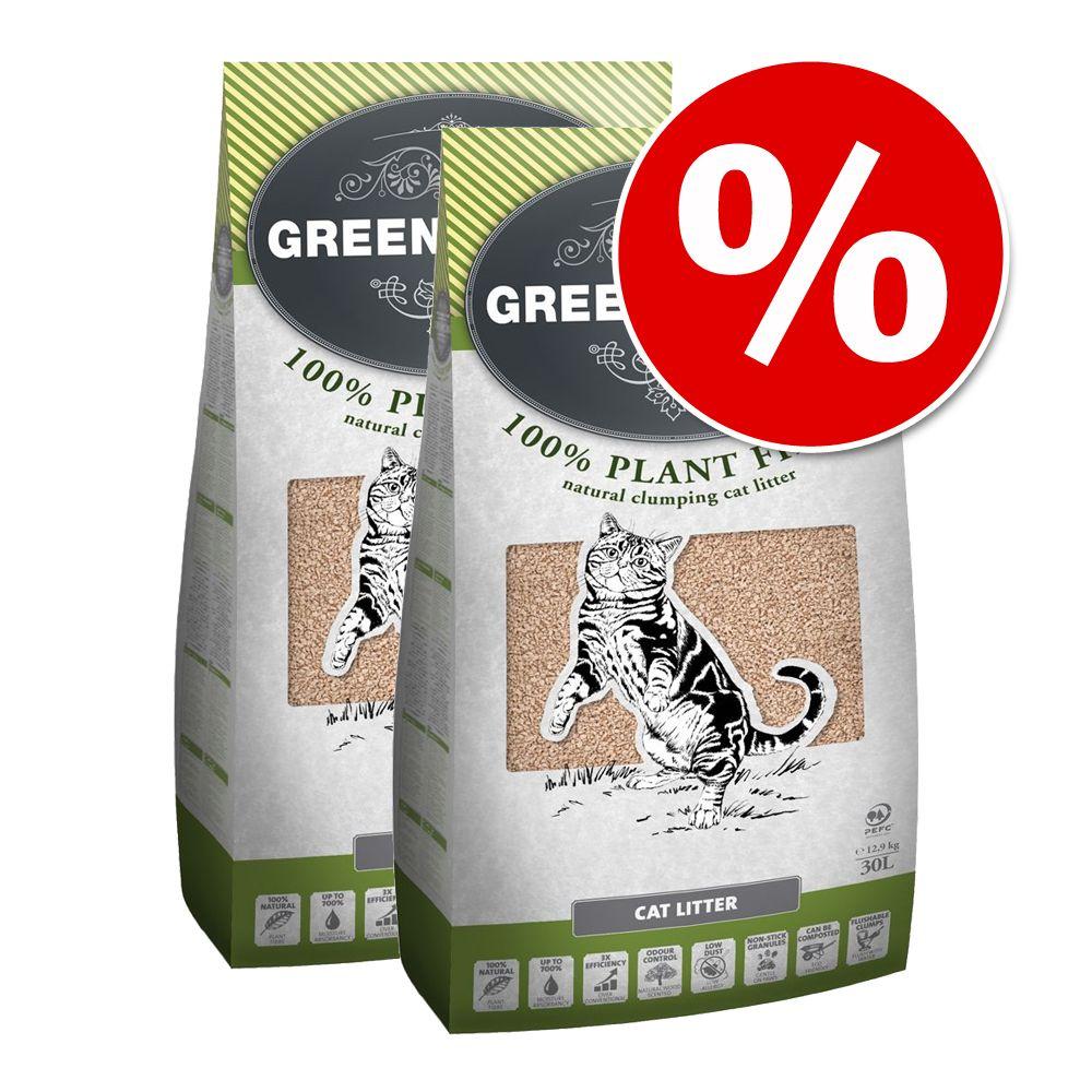 Ekonomipack: 2 förpackningar Greenwoods kattströ till lågt pris! – Plant Fibre (2 x 12,9 kg)