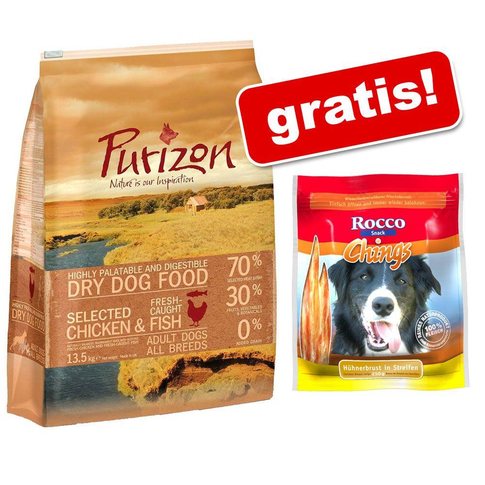 12 kg Purizon Adult karma dla psa + Rocco Chings mięsne paski do żucia, 250 g gratis! - Adult, kurczak z rybą