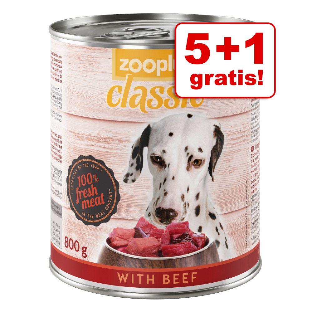 5 + 1 gratis! zooplus Classic karma mokra dla psa, 6 x 800 g - Z wołowiną