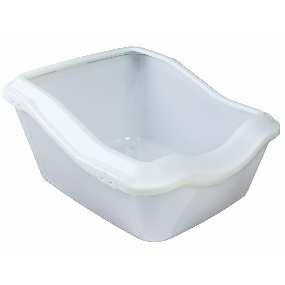Bac à litière avec rebord Cleany Cat blanc - Bac à litière pour chat