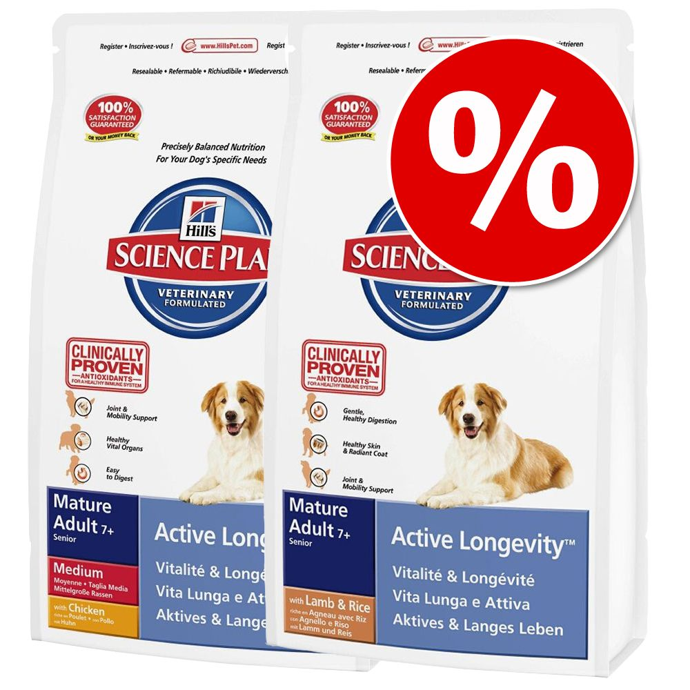Blandat ekonomipack: 2 påsar Hill's Canine Mature Adult hundfoder – Mature Adult 7+ Lamb with Rice + Mature Adult 7+ Medium (2 x 12 kg)