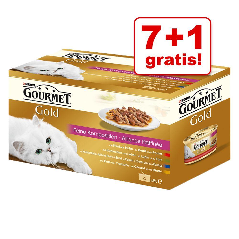 7 + 1 gratis! Pakiet próbny Gourmet Gold, 8 x 85 g - Kawałki w sosie