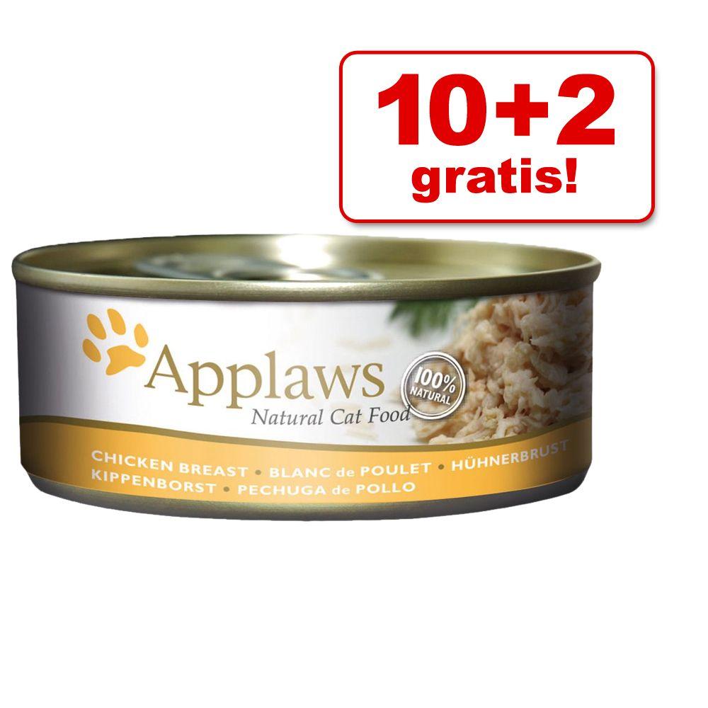 10 + 2 gratis! Applaws w bulionie, 12 x 156 g - Filet z tuńczyka z krewetkami