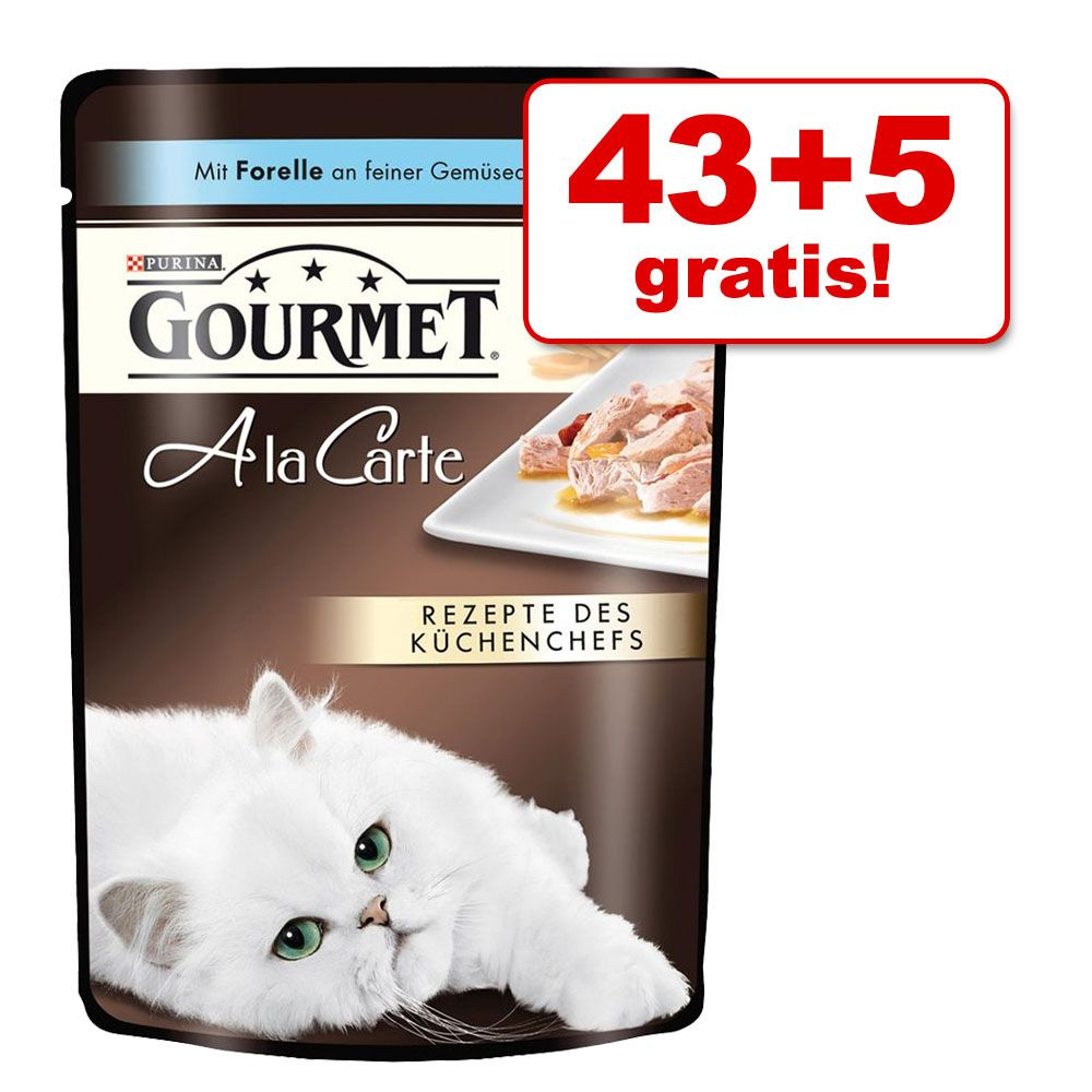 43 + 5 gratis! Gourmet A la Carte, 48 x 85 g - Wołowina