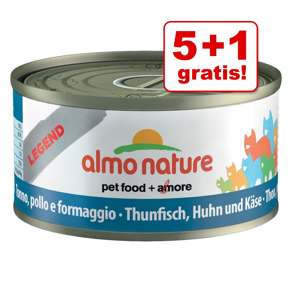 Image of 5 + 1 gratis! 6 x 70 g Almo Nature Legend - Forelle & Thunfisch