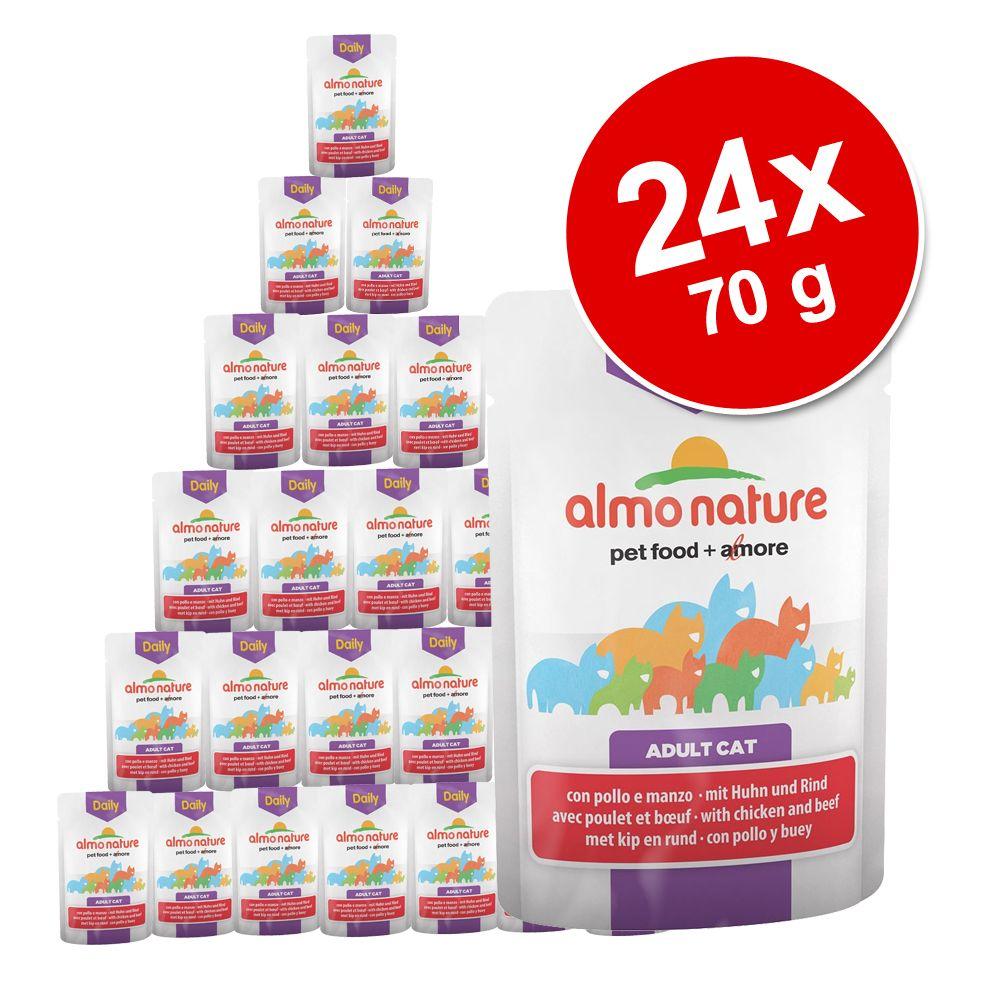 Ekonomipack: Almo Nature Daily Menu Pouch 24 x 70 g - Blandpack kyckling