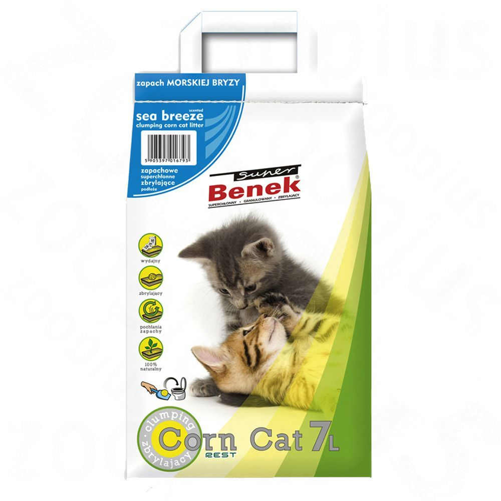 Super Benek Corn Cat Ocean Breeze - Ekonomipack: 3 x 7 l (ca 15 kg)