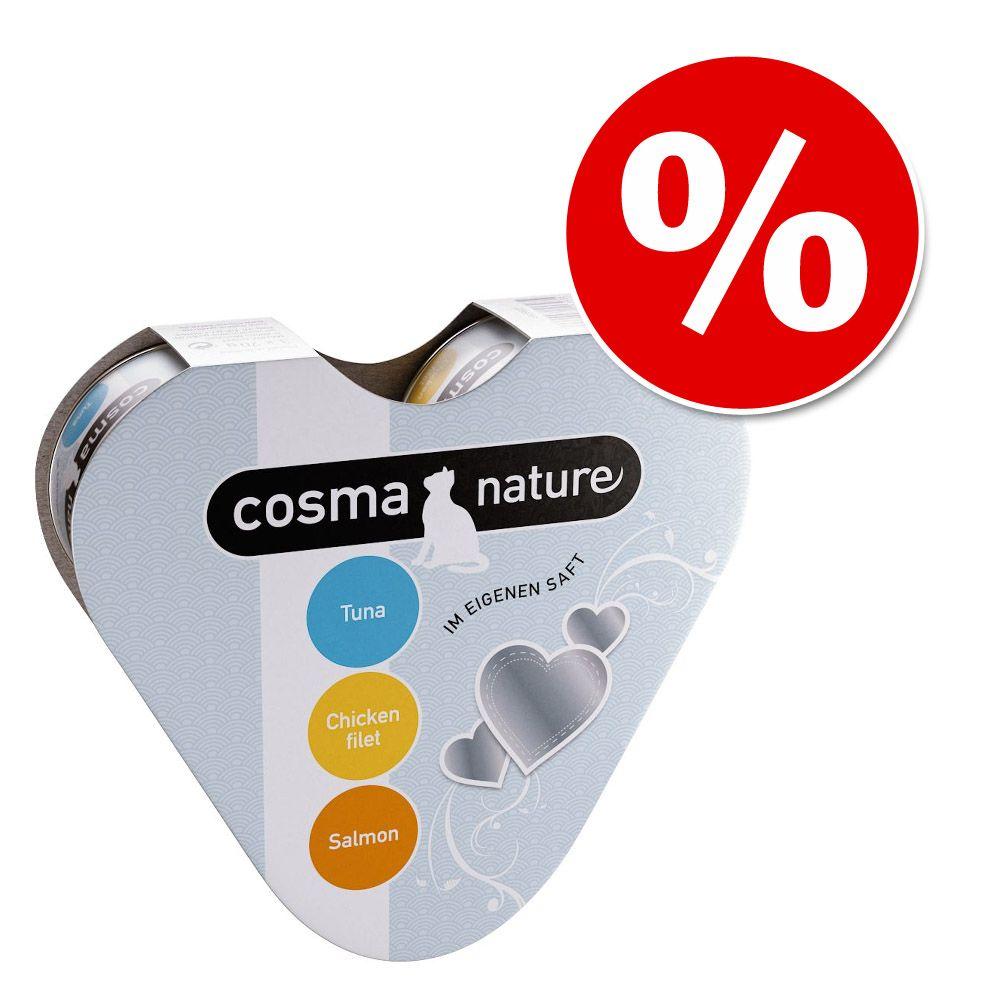Pakiet próbny Cosma Nature w kształcie serca, 3 x 70 g w super cenie! - Tuńczyk, kurczak, łosoś