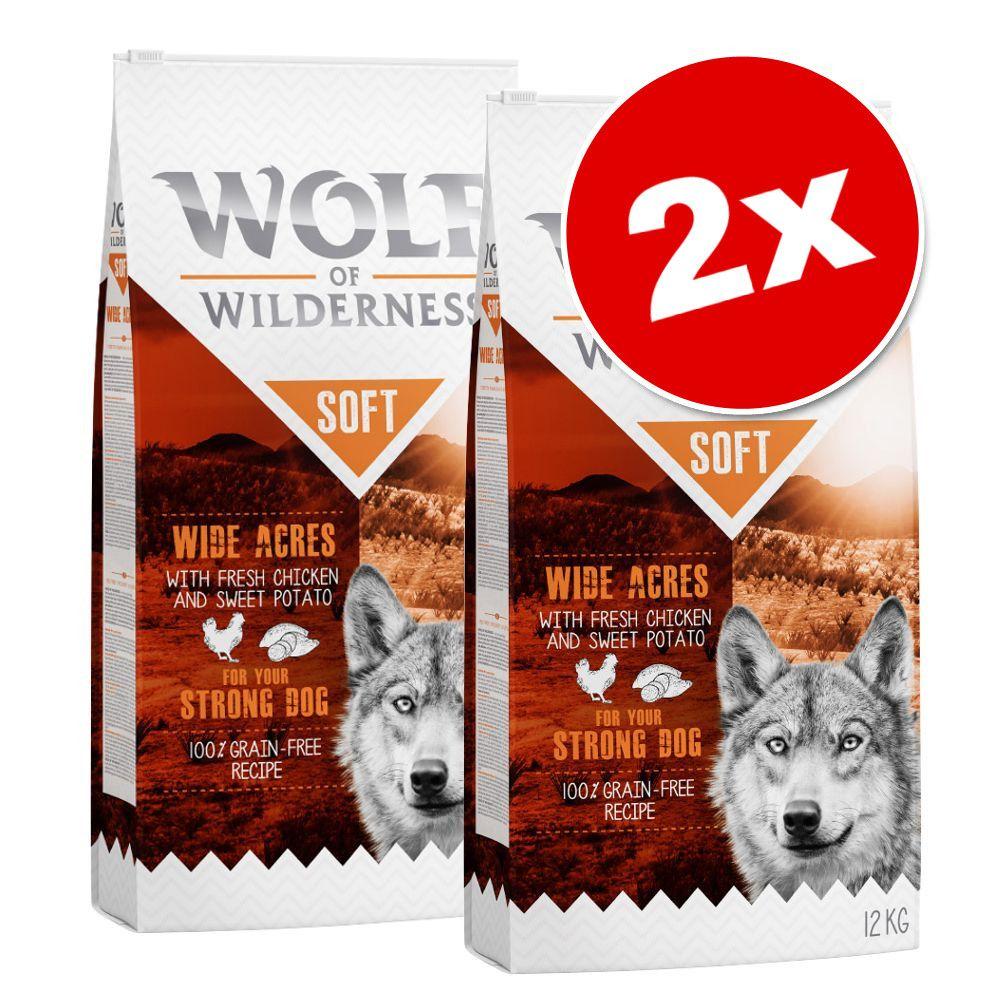 2x12kg Wolf of Wilderness Soft & Strong Senior Wide Acres poulet - Croquettes pour chien