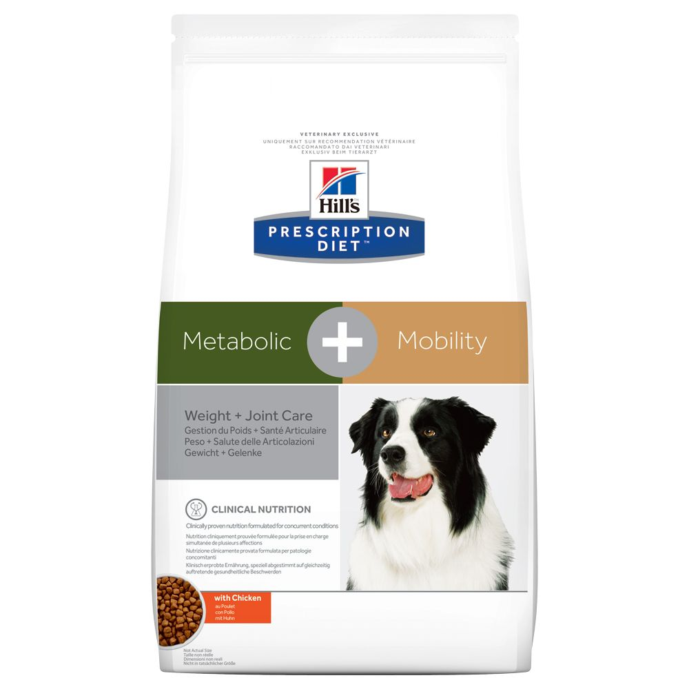 Hill's Prescription Diet Metabolic + Mobility Weight + Joint Care hundfoder med kyckling - Ekonomipack: 2 x 12 kg