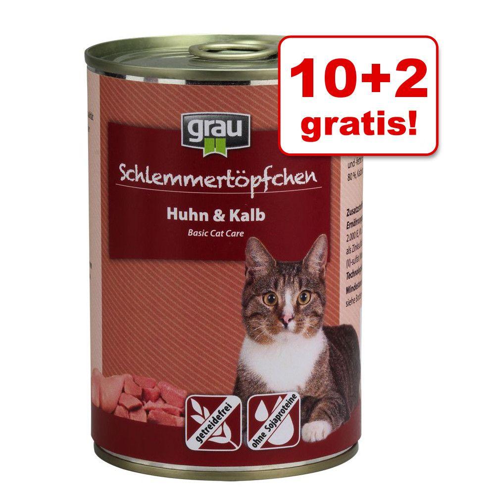 10 + 2 gratis! Pakiet Grau Puszka dla Łasucha, bezzbożowa, 12 x 400 g - Królik, wołowina i kaczka