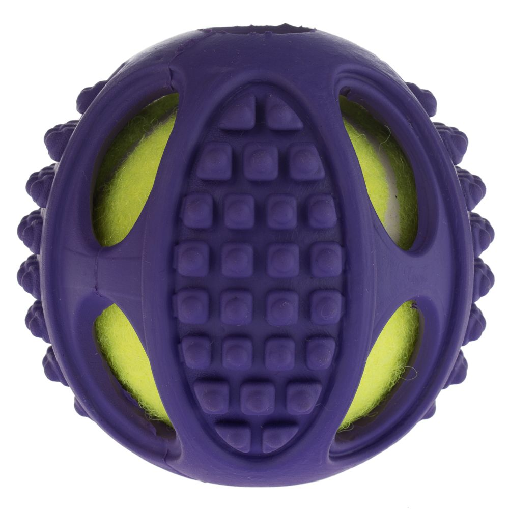 2-in-1 Rubber Tennis Ball Dog Toy - Size L: Diameter 10cm