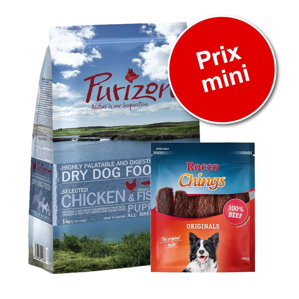 Pack Puppy: Purizon Puppy 1 kg + friandises Rocco Chings 120 g - Puppy Large poulet, poisson 1 kg + Rocco Chings, lamelles de bœuf 150 g