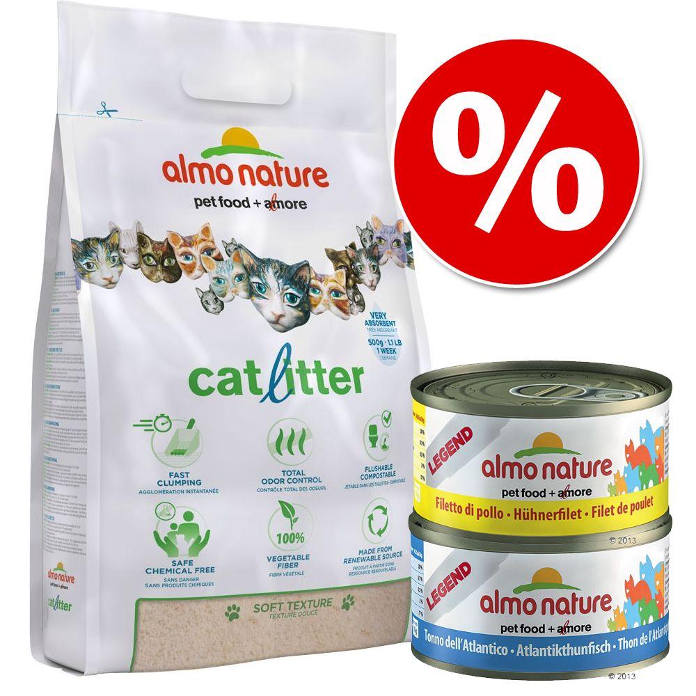 Set misto Lettiera Almo Nature + alimento umido Almo Nature - 4,54 kg Lettiera Almo Nature + 6 x 70 g Tonno dell'Atlantico