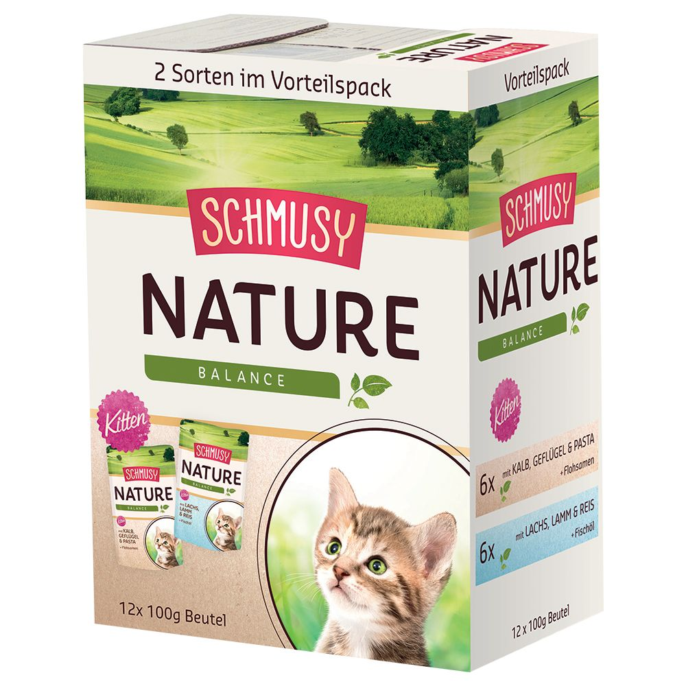 Schmusy Nature Balance Pouches Kitten Mixed Trial Pack 12 x 100g