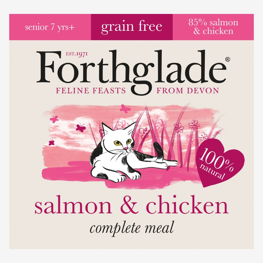 Forthglade Complete Meal Grain-Free Senior Cat - Salmon & Chicken - Saver Pack: 48 x 90g