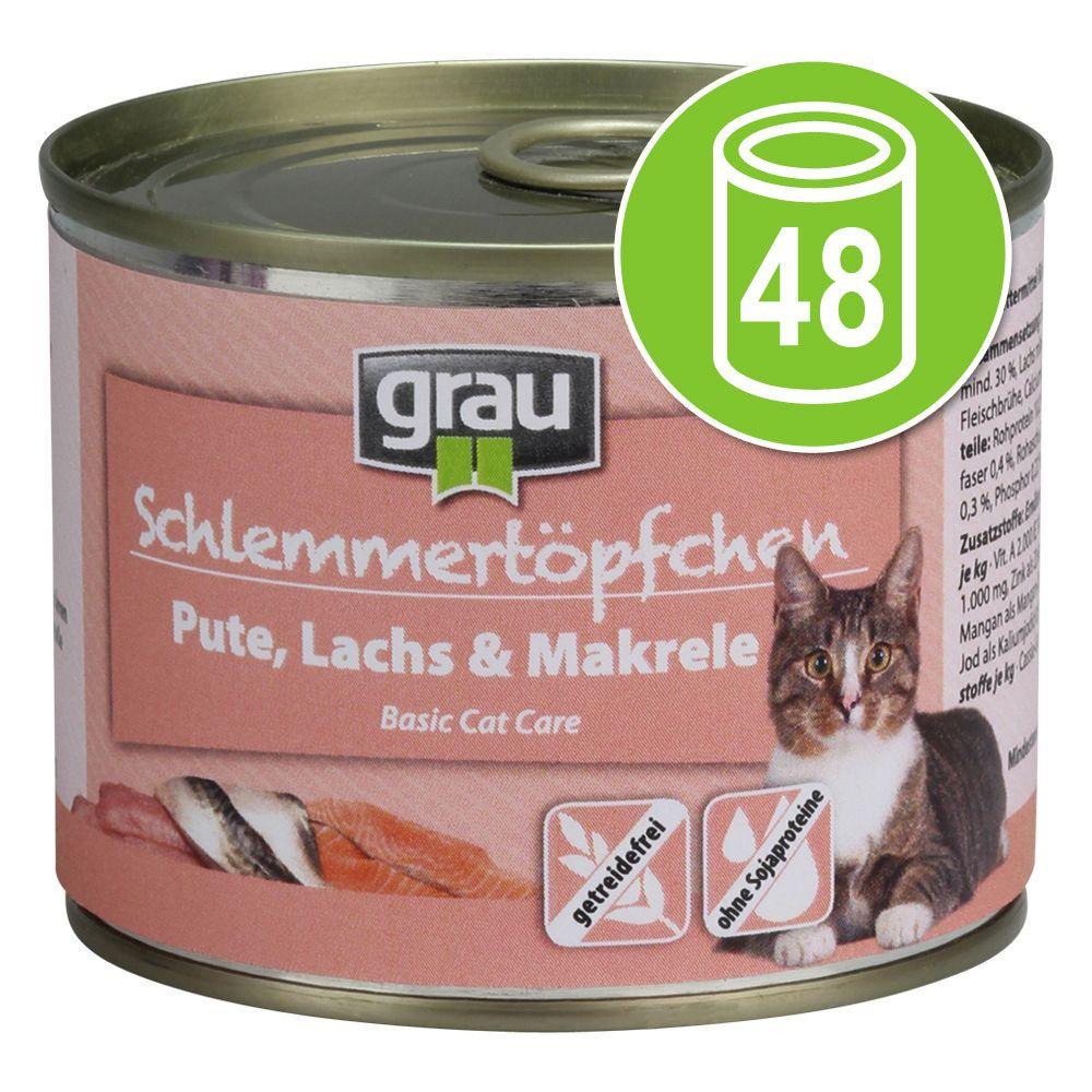 48x200g dinde, saumon, maquereau sans céréales Grau Menu gourmand Nourriture pour chat