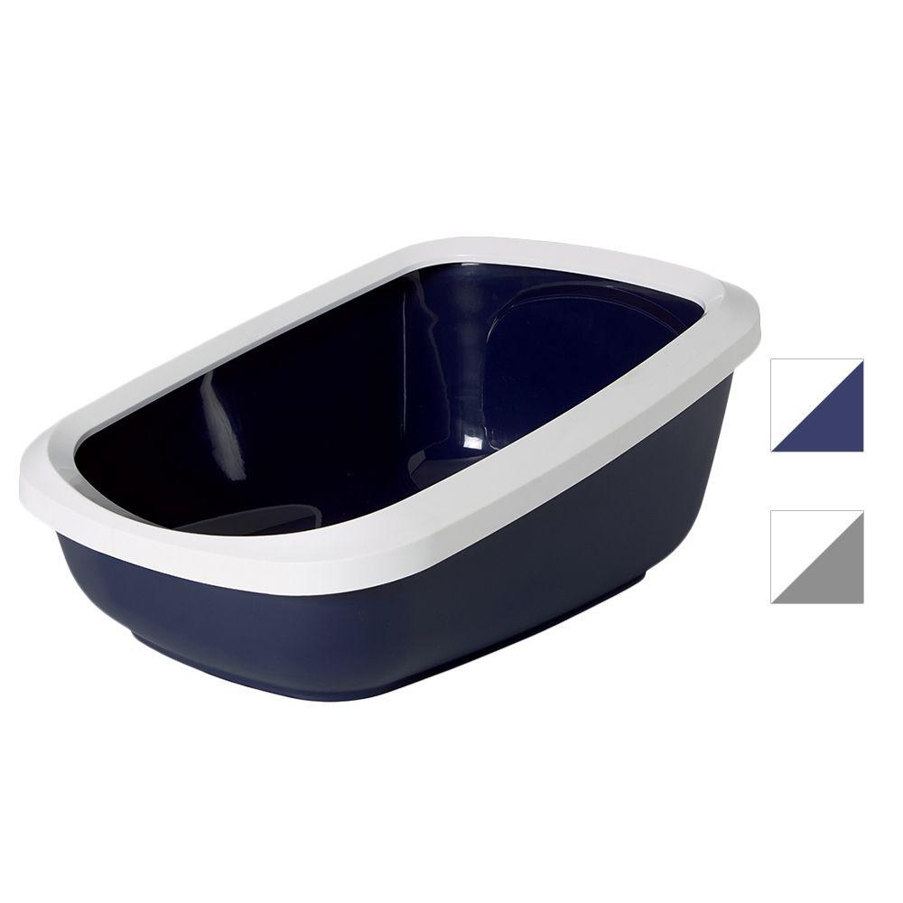 Savic Aseo XXL kattlåda med hög kant - Mörkblå / vit