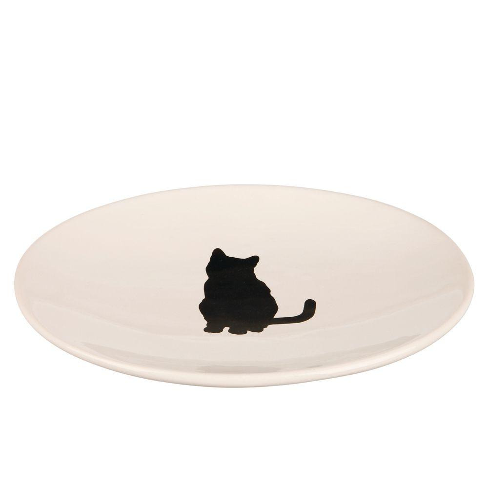 Trixie Keramikteller mit Katzenmotiv - Sparset: 2 x L 18 × B 15 cm
