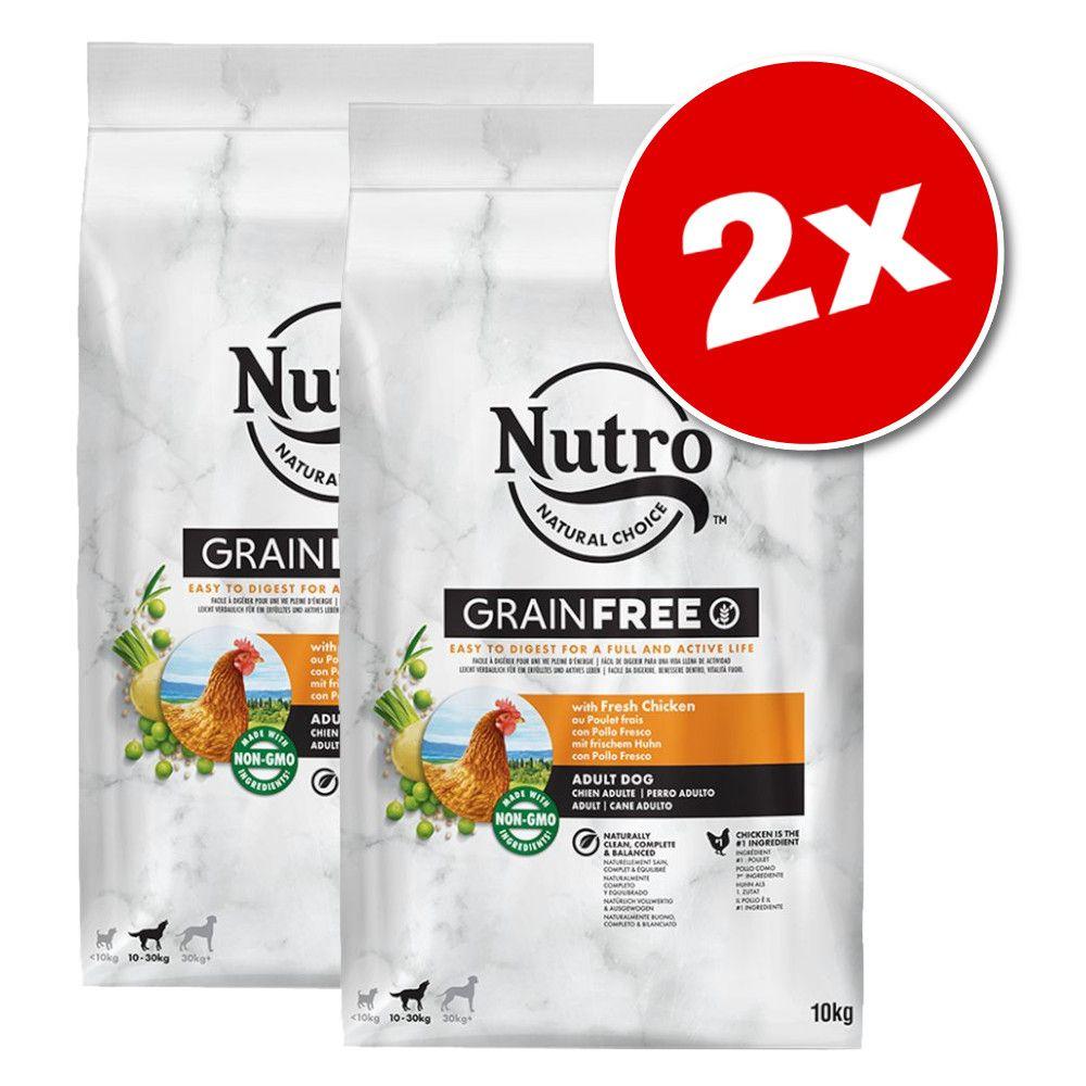 Lot Nutro Grain Free pour chien - Adult poulet (2 x 10 kg)