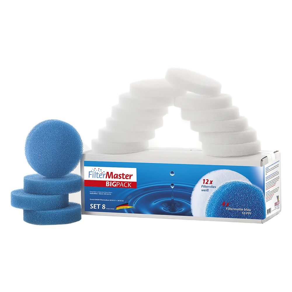 Set 8 Filtermaster BigPack pour filtres EHEIM Classic 250 - Matériel filtrant pour aquarium