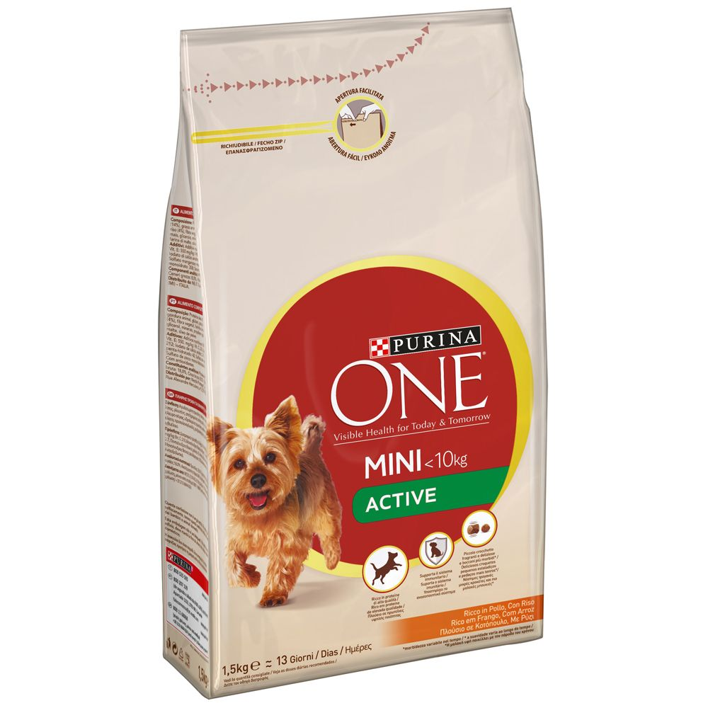 Purina ONE Mini Active Chicken & Rice - Ekonomipack: 4 x 1,5 kg