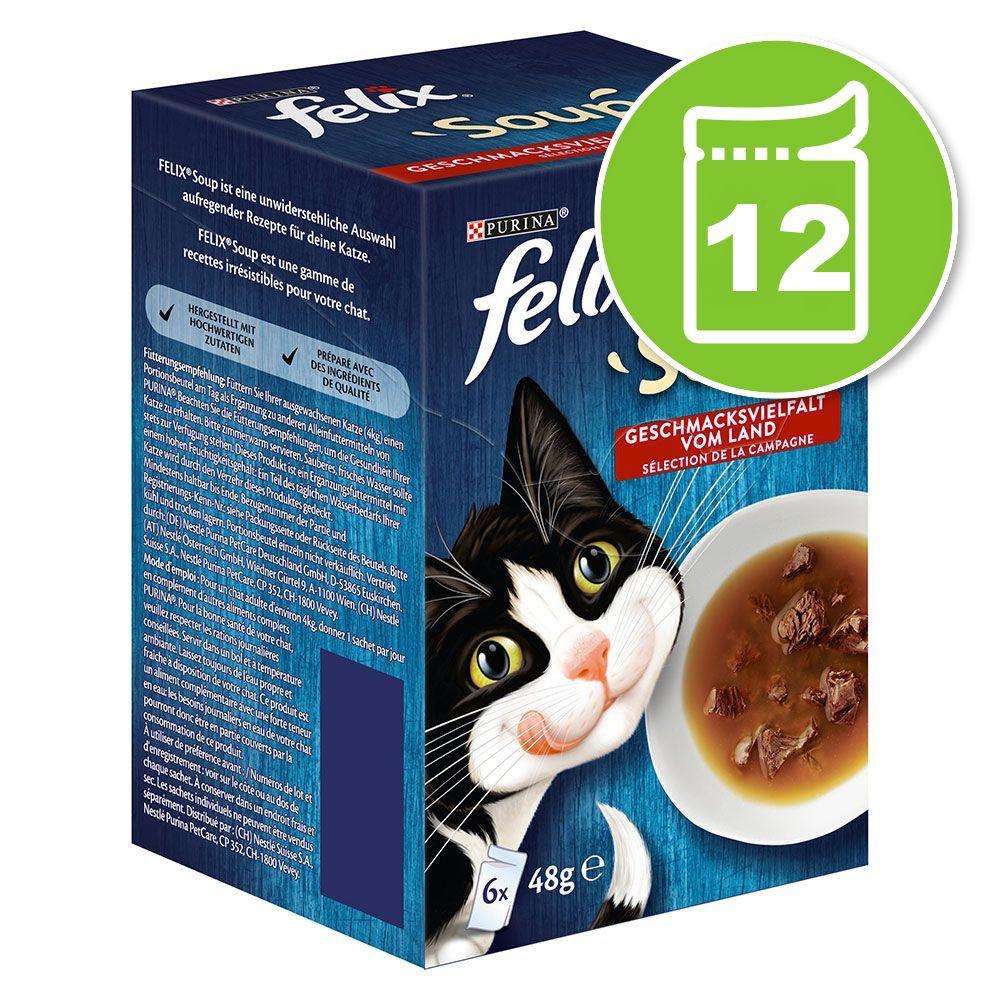 12x48g Felix Soup sélection mixte - Pâtée pour chat