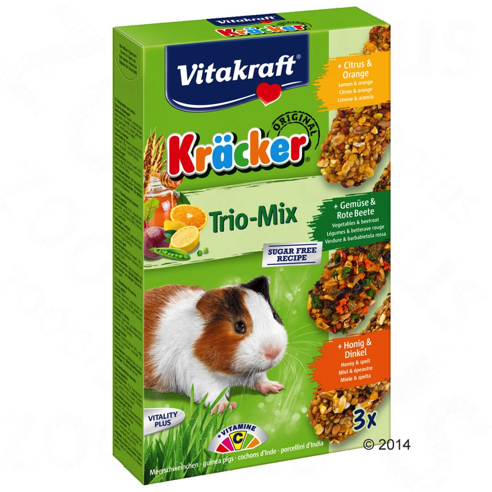 Vitakraft Trio-Mix Crackers pour cochon d´Inde - 3 x 3 friandises (miel, raisin, fruits)