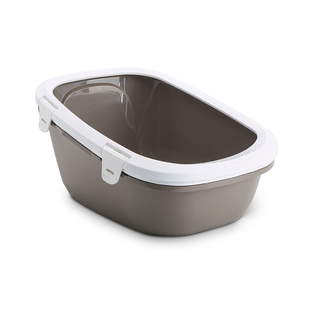 Savic Simba Cat Litter Tray with Sieve - Warm Grey & White
