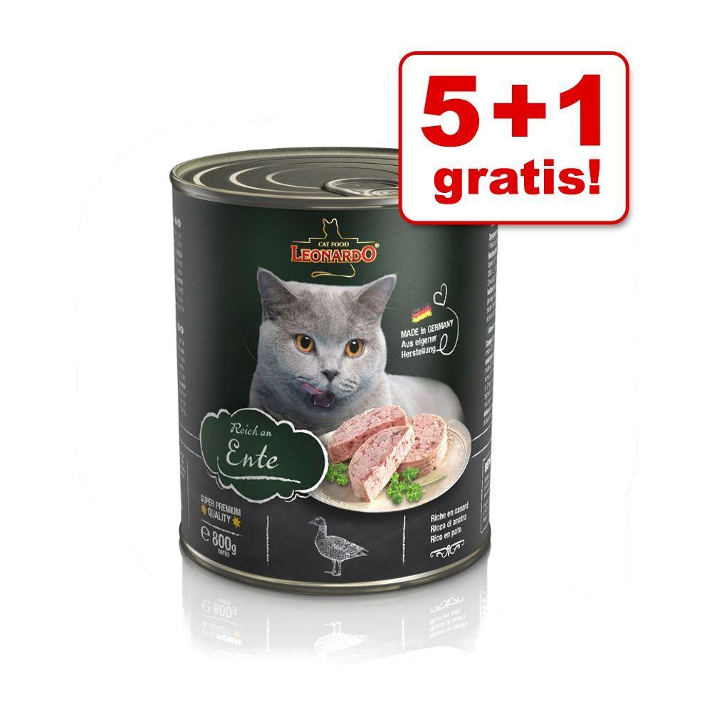 5 + 1 på köpet! 6 x 800 g Leonardo All Meat Rich in Duck