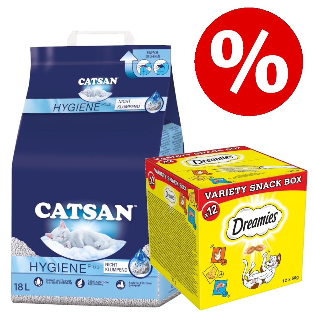 18 l Catsan kattströ + 12 x 60 g Dreamies Mixbox Snacks till kanonpris! - 18 l Hygiene plus kattsand + 12 x 60 g Dreamies Mix Snacks