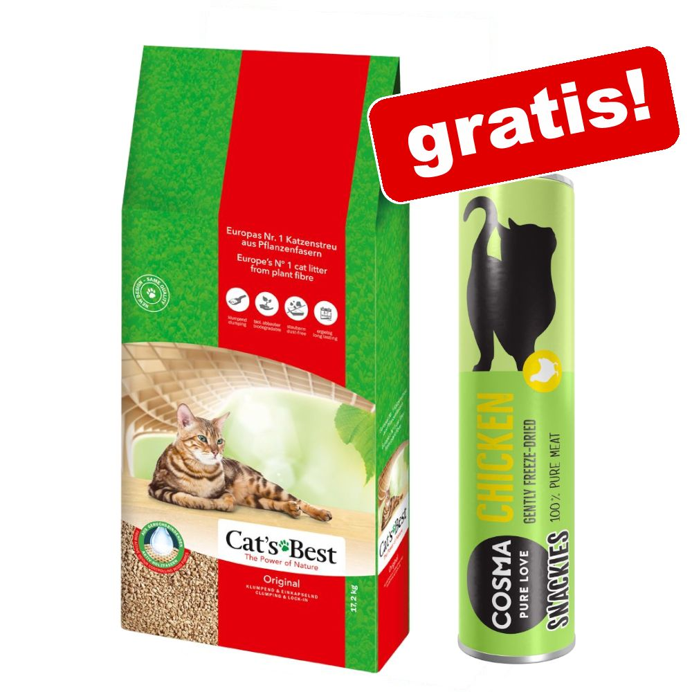 40 l Cat's Best Original Katzenstreu + 26 g Cosma Snackies mit Huhn gratis! - 40 l (ca. 17,2 kg)