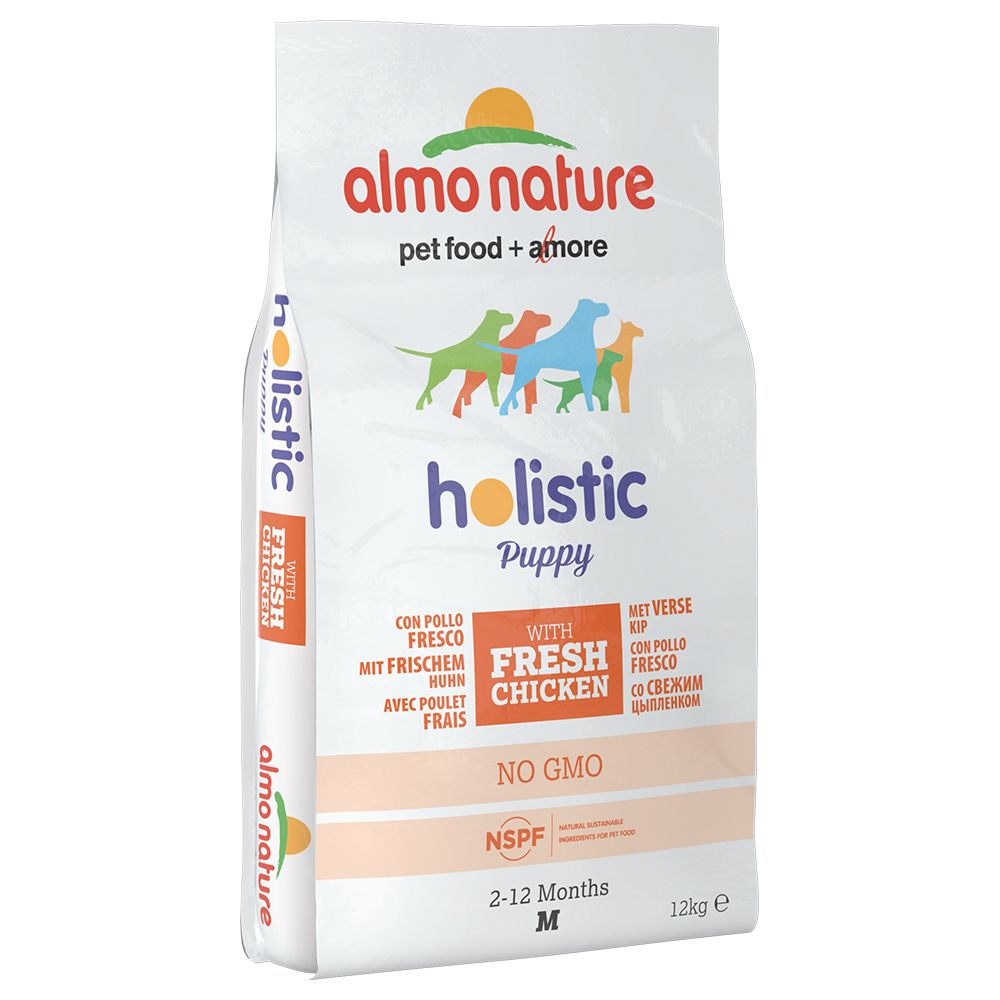 Image of Almo Holistic Medium Puppy Huhn & Reis - Sparpaket: 2 x 12 kg