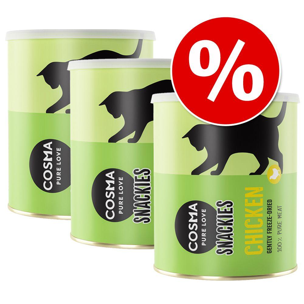 450g Maxi tube Cosma Snackies 3 x assortiment 5 saveurs - Friandises lyophilisées pour chat