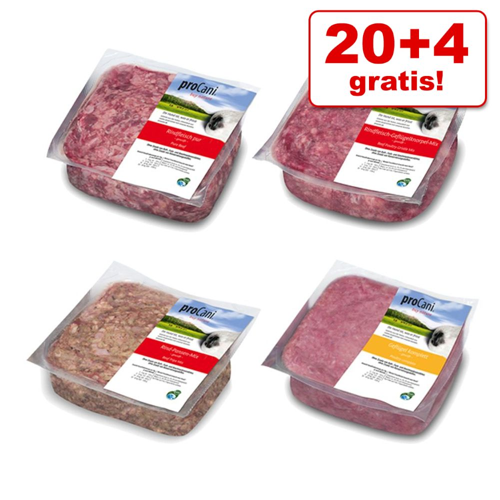 20 + 4 gratis! 24 x 1000 g proCani  - Rind-Paket