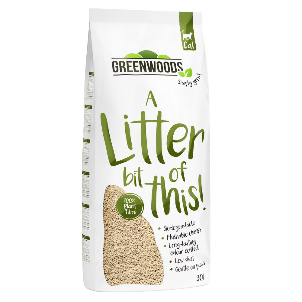 2 x 30l Greenwoods Plant Fibre Natural Clumping Litter - Special Price!* - 2 x 30l