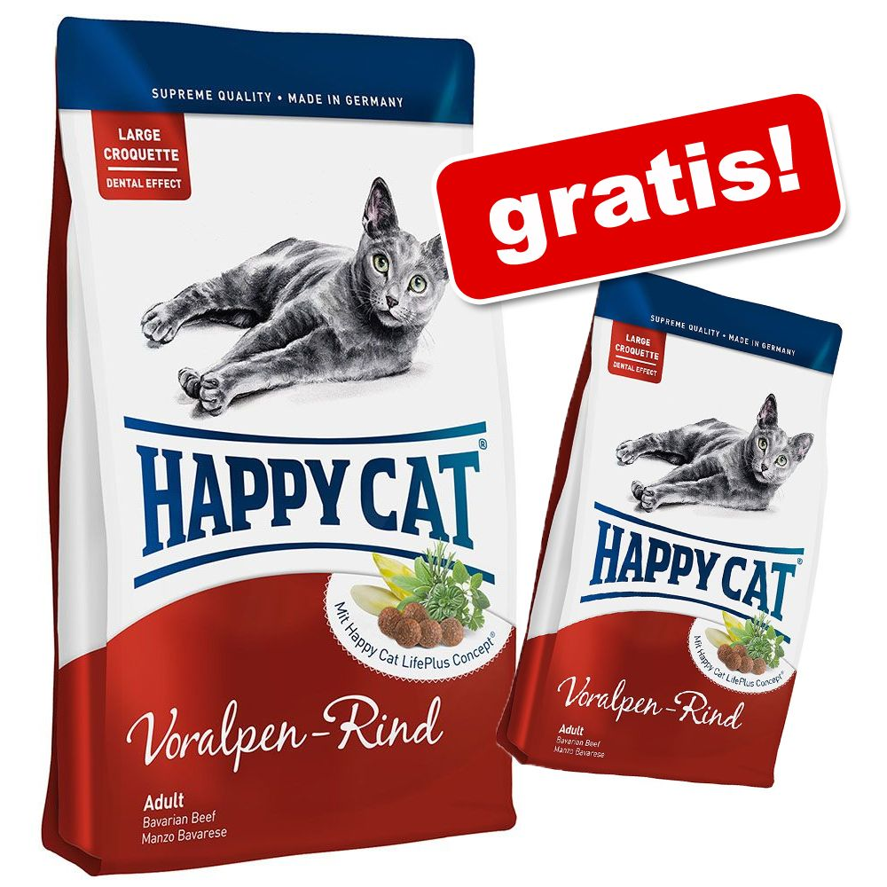 Foto Happy Cat + 1,4 kg gratis! - Adult Salmone dell'Atlantico 10 kg Happy Cat Supreme