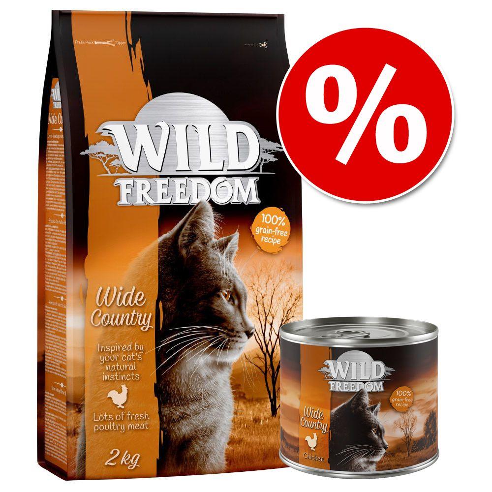 Blandpack: 2 kg Wild Freedom torrfoder + 6 x 200 g våtfoder - Wild Hills - Duck