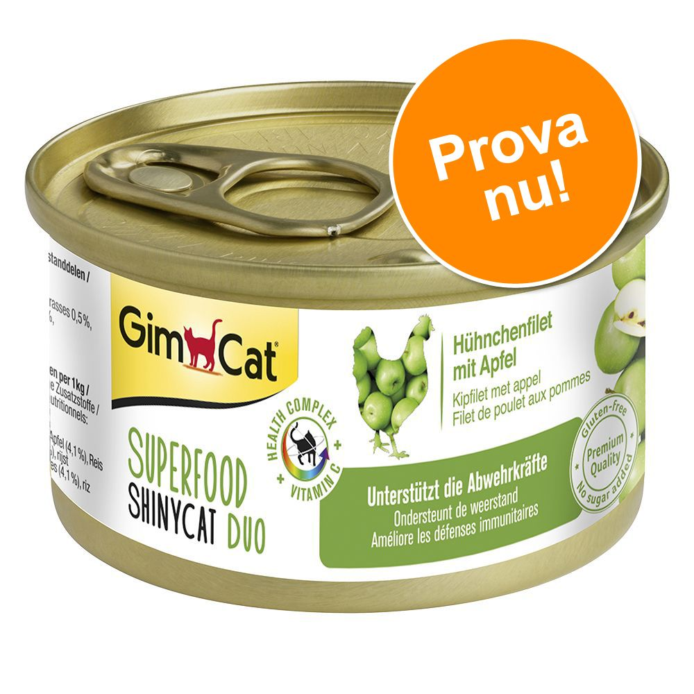 Provpack: GimCat Superfood ShinyCat Duo 6 x 70 g - Provpack (4 sorter)