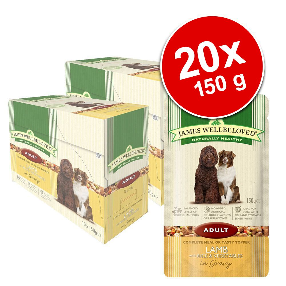 Ekonomipack: 20 x 150 g James Wellbeloved Pouches våtfoder - Puppy & Junior Turkey & Rice