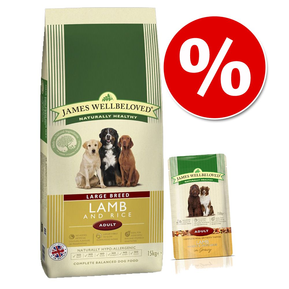 15 kg James Wellbeloved + 10 x 150 g våtfoder till superpris! - Adult Duck & Rice (15 kg)