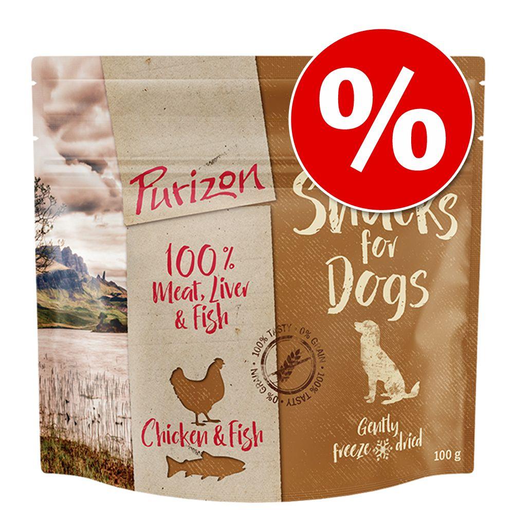 Kanonpris! Prova 100 g Purizon Snacks hundgodis - Lamm & fisk