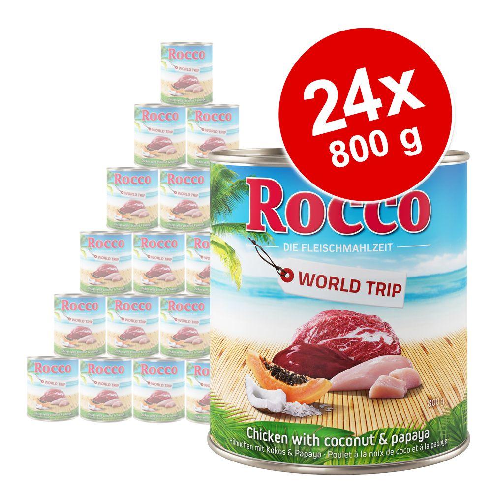 24x800g tour du monde jamaïque poulet noix de coco papaye rocco nourriture pour chien