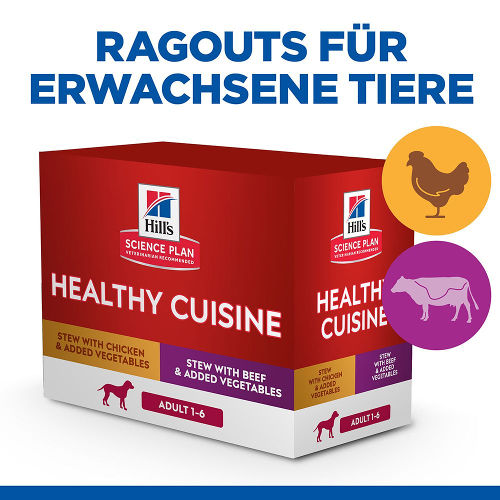 Hill's Science Plan Canine Adult Healthy Cuisine mit Huhn & Rind - 8 x 80 g