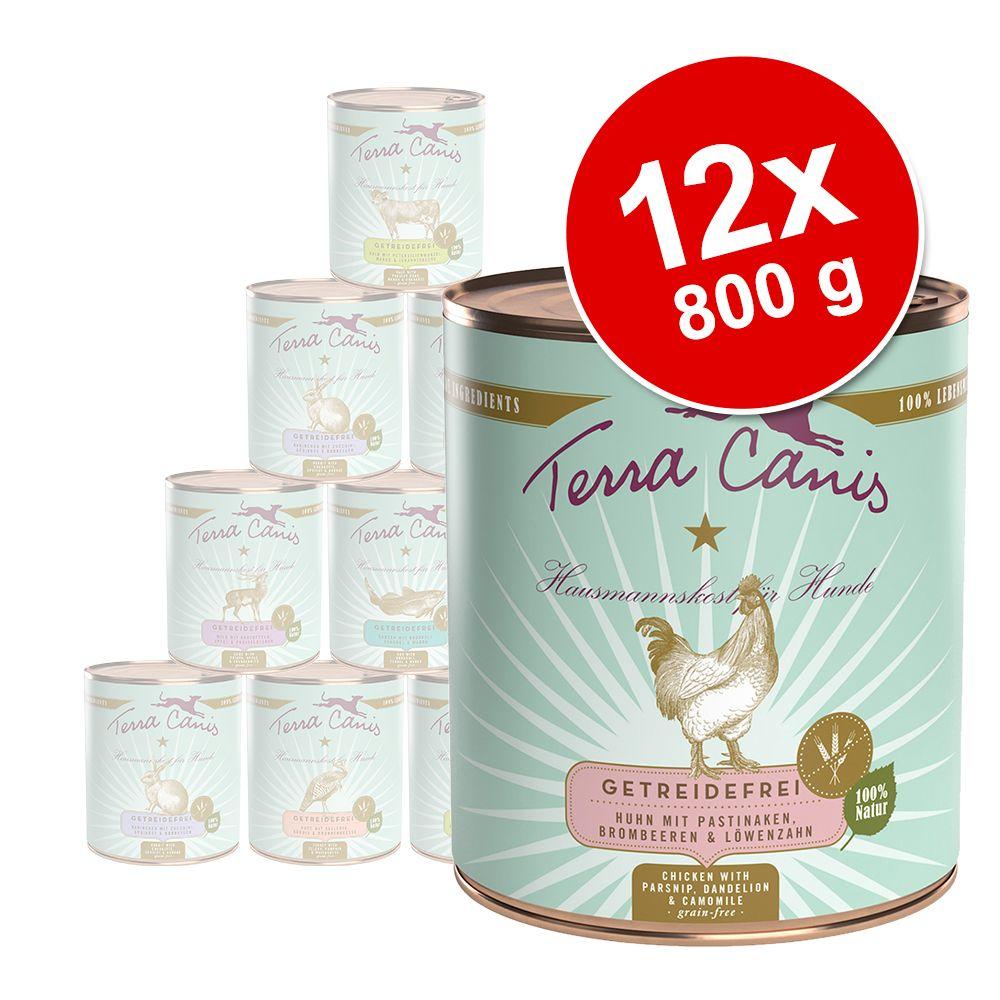12 x 800 g Terra Canis Getreidefrei Schlemmerpaket - Huhn & Kaninchen