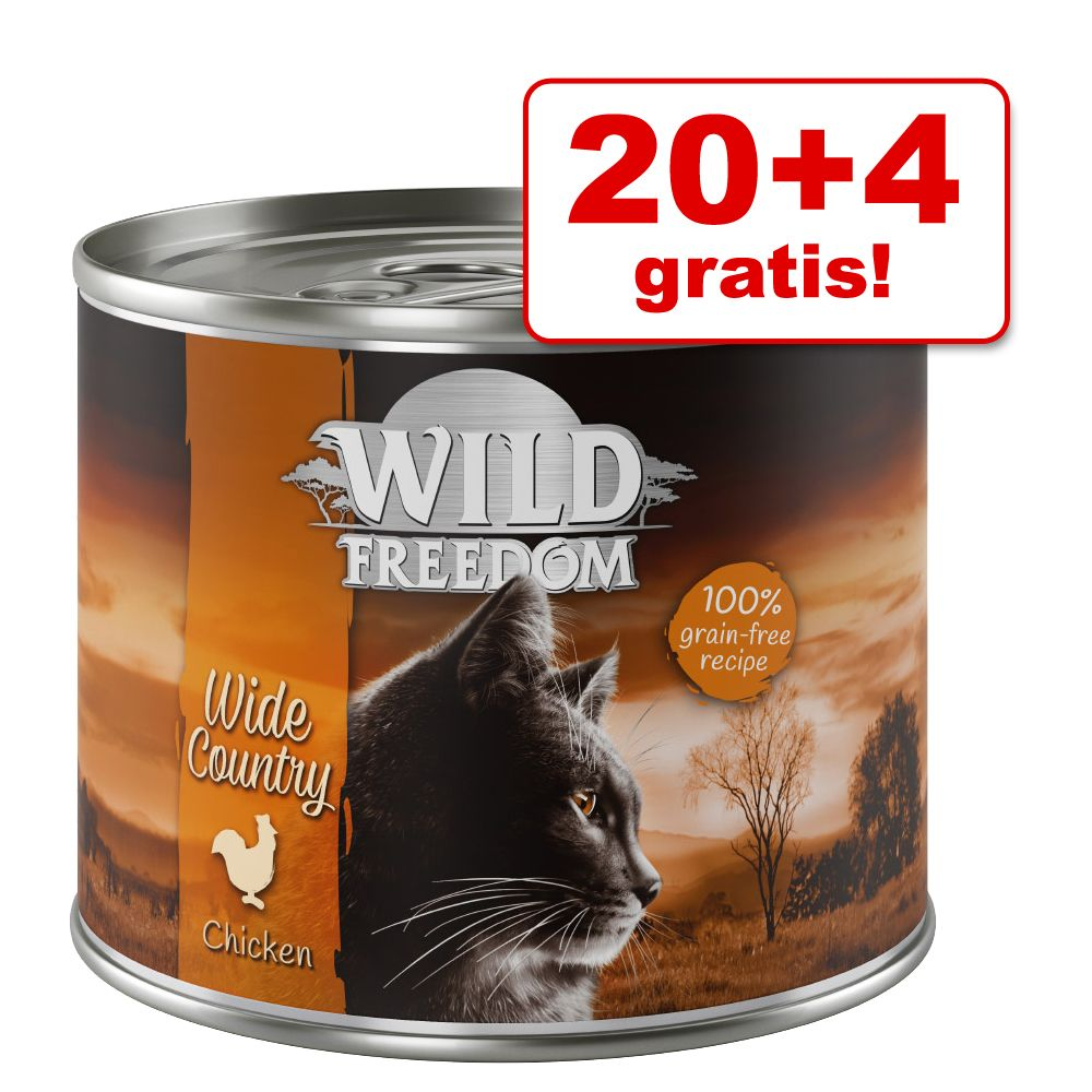 20 + 4 på köpet! Wild Freedom 24 x 200 / 400 g - NYHET Kitten Wide Country - Veal & Chicken 24 x 200 g