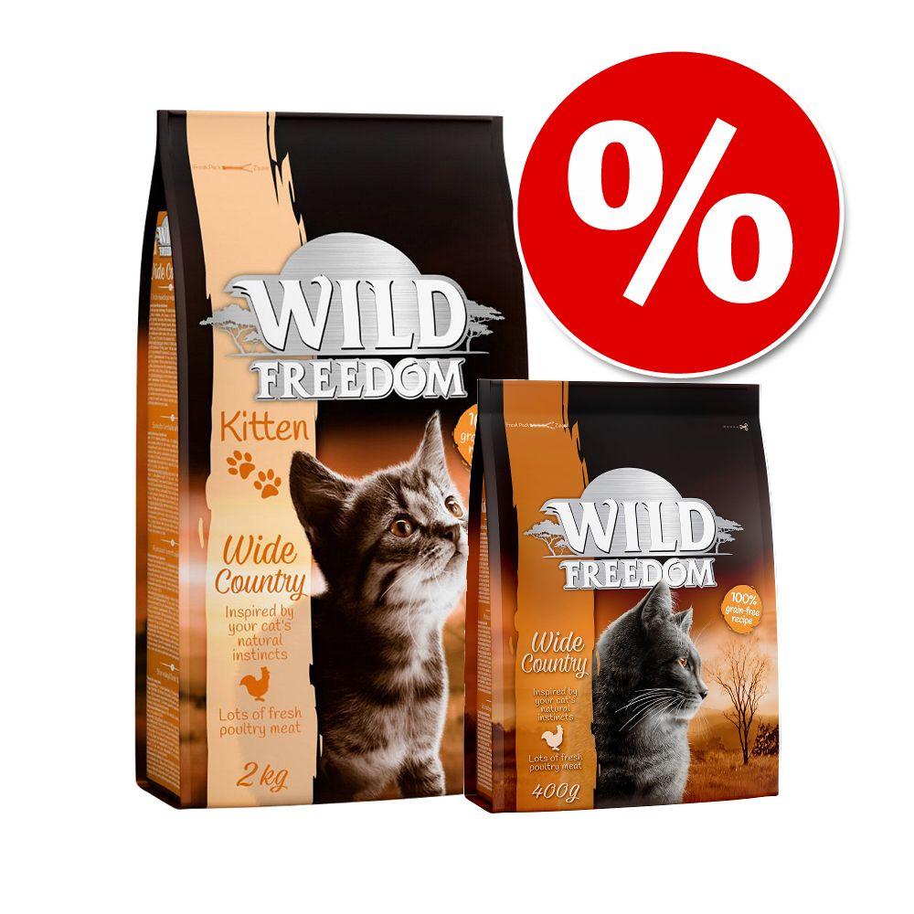 Övergångsset! Wild Freedom Kitten - 2 kg Kitten fjäderfä + 400 g Adult fjäderfä